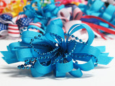 Bright blue pearl bead strings hair bow w french clip