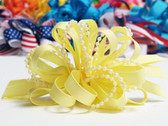 Light yellow pearl bead strings hair bow w french clip