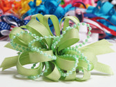 Pale green pearl bead strings hair bow w french clip