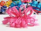 Pink pearl bead strings hair bow w french clip