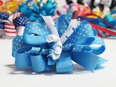 Sky blue twirl polka dot hair bow w french clip