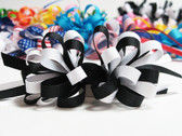 Black and white hair bow grosgrain ribbon w french clip
