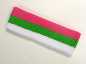 Bright pink bright green white striped sports sweat headband