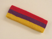 Red purple golden yellow 3color striped headband for sports