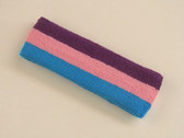 Purple pink sky blue3color striped headband for sports