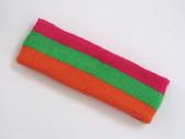 Hot pink bright green dark orage 3color striped headband for spo
