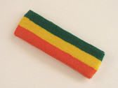 Green golden yellow dark orange 3color striped headband for spor
