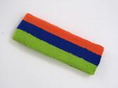 Dark orange blue lime green 3color striped headband for sports