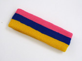 Bright pink blue golden yellow 3color striped headband for sport