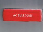 Custom Red Sport Sweat Headband with WhiteTexts Sample