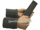 Charcoal dark grey sports sweat headband 4inch wristbands set