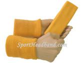 Gold yellow sports sweat headband 4inch wristbands set