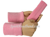 Light pink sports sweat headband 4inch wristbands set