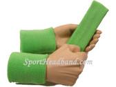 Pale green sports sweat headband 4inch wristbands set