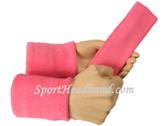 Pink sports sweat headband 4inch wristbands set