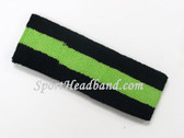 Black Bright Lime Green Black striped sport terry headband