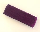 Purple terry sport headband for sweat
