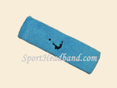 Sky Blue Soccer Logo Customized Sport Terry Headband