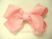 Light pink with White Stitch Hair Bow with Clip