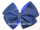Navy 2Tone Hair Bow with Clip