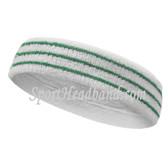 Green Stripes On White Tennis Sport Headband Terry