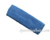 Cerulean Blue terry sport headband for sweat