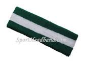 Dark Green white striped terry sport headband for sweat