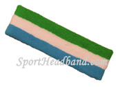 Bright Green White Sky Blue striped terry sport headband