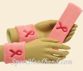 Light pink with Bright Pink Ribbon headband wristband set