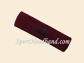 Maroon custom sport headbands sweat terry