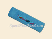 Sky Blue custom terry headbands sports sweat