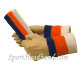Blue Orange White sports sweat headband 4inch wristbands set
