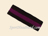 Black Purple Black striped terry sport headband for sweat