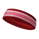 Dark Red pink with white lines basketball headband pro