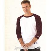 Cotton Three-quarter sleeves Raglan Baseball T-Shirt