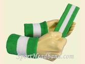 Bright Green White 2 Colored Sport sweat headband wristbands Set