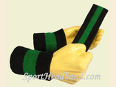 Black Green Black sports sweat headband wristbands Set