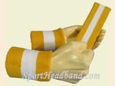 Gold Yellow White 2-colored sport  sweat headband wristbands Set