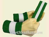 Green White Green sports sweat headband wristbands Set