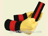 Black Red Black sports sweat headband wristbands Set