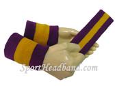 Purple Golden Yellow Purple sports sweat headband wristbands Set