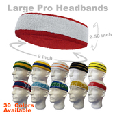2 colors Large Pro Basketball Terry Cloth Sport Sweat Headband(Many Colors)