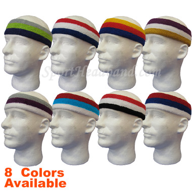 3 Stripes Large Pro Basketball Sweat Headband Terry Cloth
