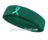Teal  Ribbon Symbol Sports Headband for support Ovarian Cancer