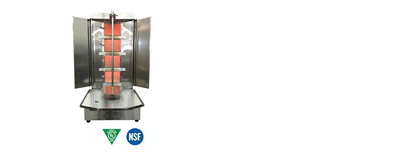 Shawarma Machine Vertical Broiler 4 Burners Portable