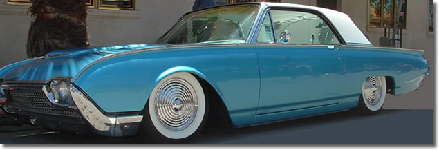 Flying Saucer Hubcaps Ripple Disk Wheel Covers on a T-Bird