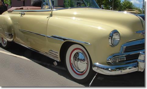 Hollywood Flipper Hub Caps on a Classic Car