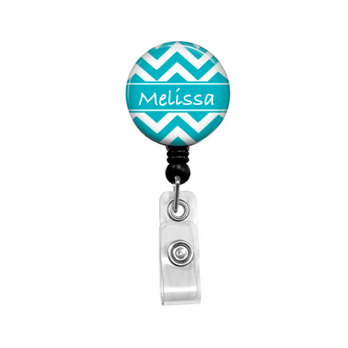 Personalized Name Aqua Chevron Mylar| Retractable ID Badge Reel