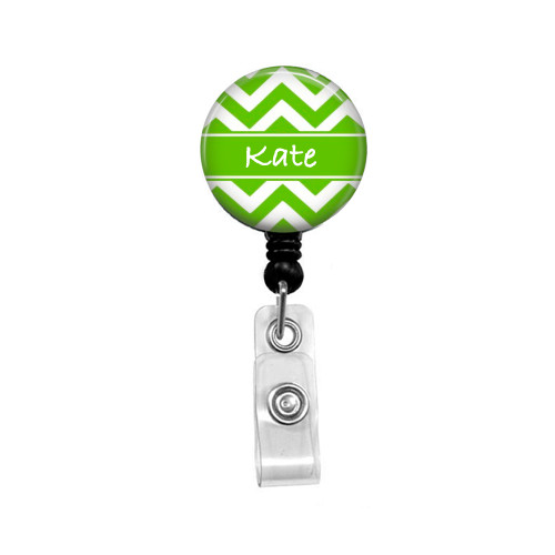 Personalized Name Lime Green Chevron Mylar| Retractable ID Badge Reel