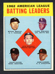 1963 Topps Baseball # 002  AL Batting Leaders Mantle, Runnels and Hinton EX/MT
